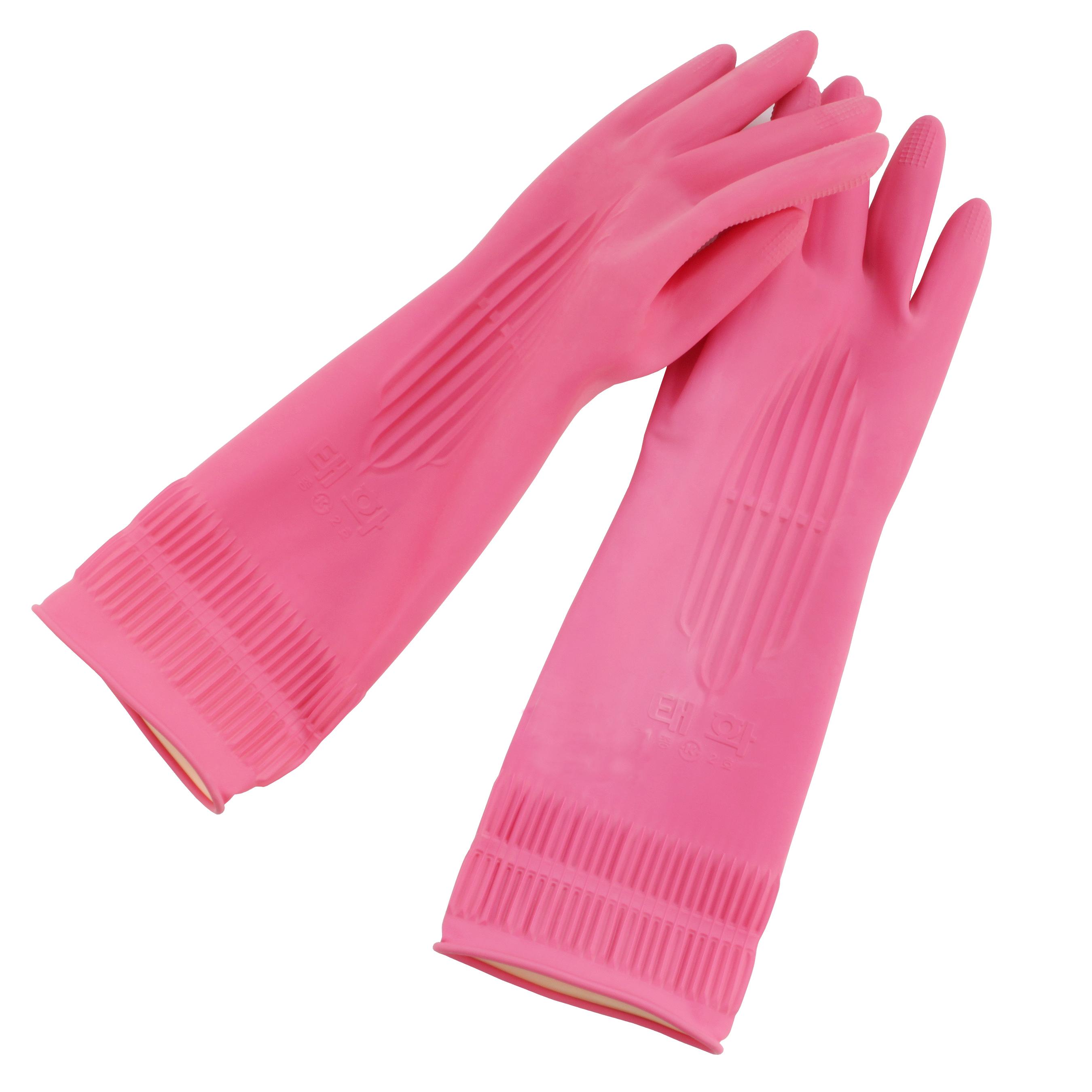 [10개묶음]태화고무장갑(선밴)M-핑크
